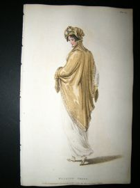 Ackermann 1809 Hand Col Regency Fashion Print. Walking Dress 1-24
